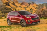 Picture of a 2019 Kia Sportage SX Turbo in Hyper Red from a front right three-quarter perspective
