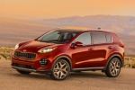 Picture of a 2019 Kia Sportage SX Turbo in Hyper Red from a front left three-quarter perspective