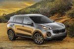 Picture of a 2019 Kia Sportage EX in Mineral Silver from a front right three-quarter perspective