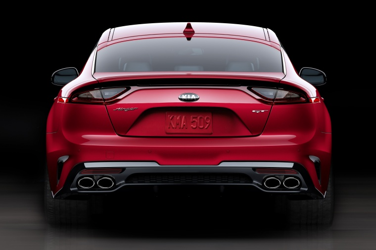 2018 Kia Stinger GT in HiChroma Red from a rear view