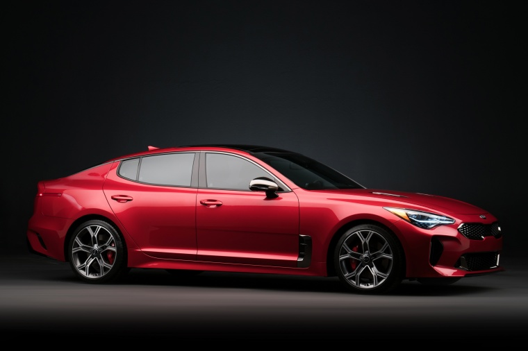 2018 Kia Stinger GT in HiChroma Red from a front right three-quarter view