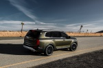 Picture of a 2020 Kia Telluride AWD in Dark Moss from a rear right three-quarter perspective