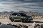 Picture of a 2020 Kia Telluride AWD in Dark Moss from a front right three-quarter perspective