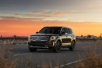 Picture of a 2020 Kia Telluride AWD in Dark Moss from a front left perspective