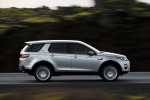 Picture of a driving 2018 Land Rover Discovery Sport HSE Luxury in Indus Silver Metallic from a right side perspective