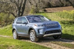Picture of a driving 2020 Land Rover Discovery Sport P250 S in Byron Blue Metallic from a front right three-quarter perspective