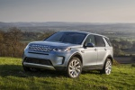 Picture of a driving 2020 Land Rover Discovery Sport P250 S in Byron Blue Metallic from a front left three-quarter perspective