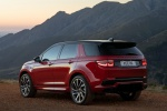 Picture of a 2020 Land Rover Discovery Sport P290 HSE R-Dynamic in Firenze Red Metallic from a rear left three-quarter perspective