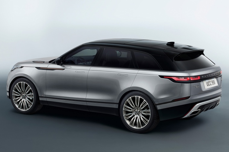Picture of a 2020 Land Rover Range Rover Velar P380 R-Dynamic HSE in Silver from a rear left three-quarter perspective
