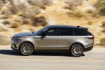 Picture of a driving 2020 Land Rover Range Rover Velar P380 R-Dynamic HSE in Silver from a left side perspective