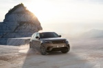 Picture of a driving 2020 Land Rover Range Rover Velar P380 R-Dynamic HSE in Silver from a front right perspective