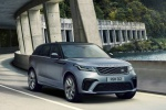 Picture of a driving 2020 Land Rover Range Rover Velar SVAutobiography Dynamic Edition in Byron Blue Metallic from a front right perspective