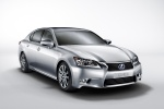 2015 Lexus GS 450h Hybrid Sedan in Liquid Platinum - Static Front Right Three-quarter View