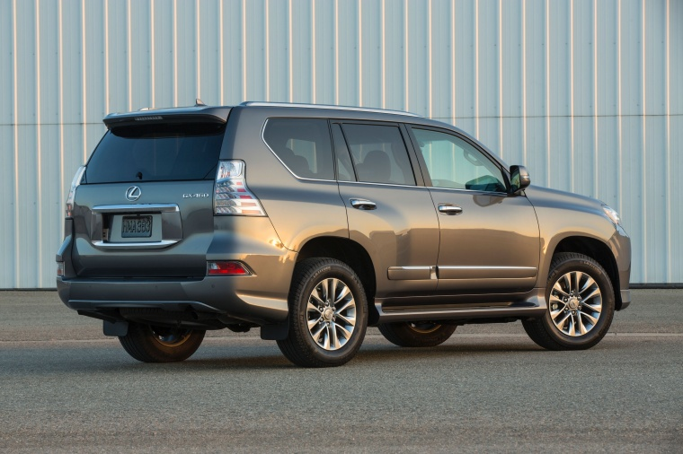 2014 Lexus GX460 in Knights Armor Pearl from a rear right three-quarter view