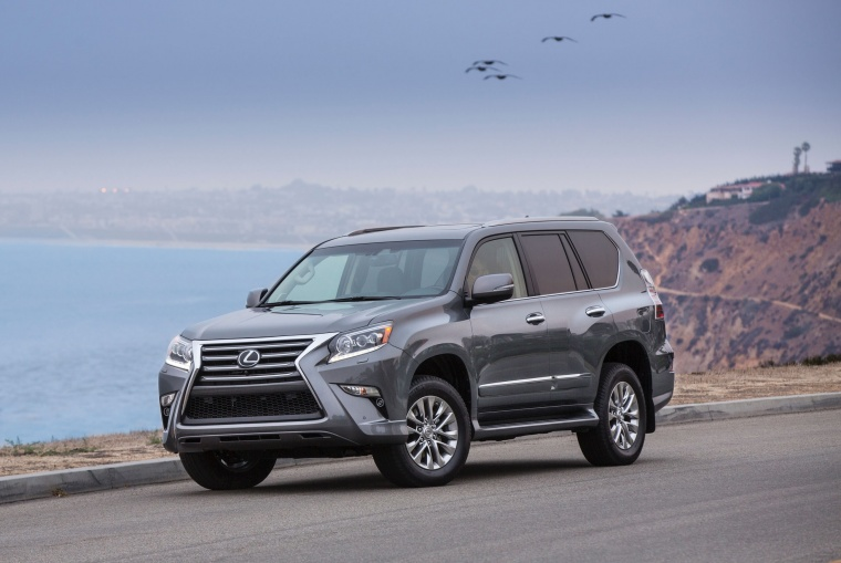 2014 Lexus GX460 in Knights Armor Pearl from a front left view
