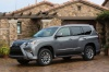 Picture of a 2018 Lexus GX460 in Nebula Gray Pearl from a front left three-quarter perspective