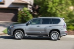 Picture of a driving 2018 Lexus GX460 in Nebula Gray Pearl from a side perspective