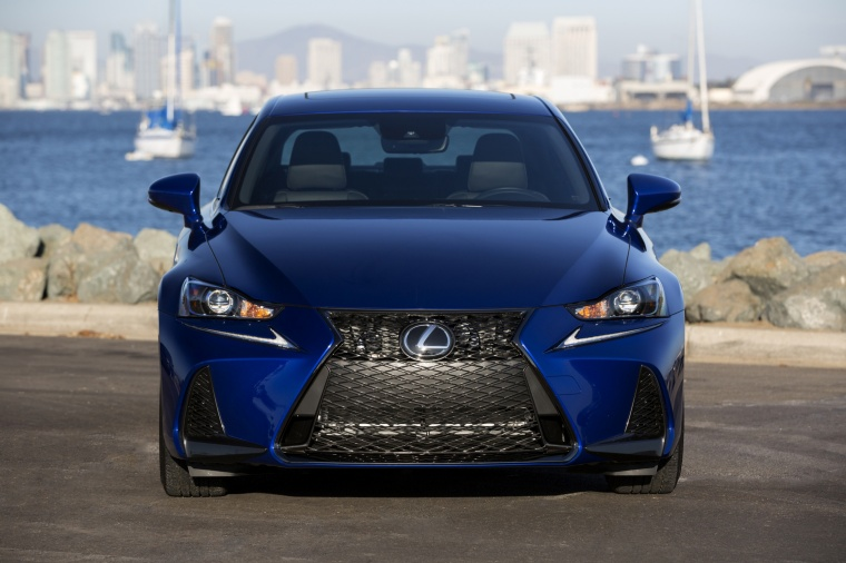 2018 Lexus IS 350 AWD in Ultrasonic Blue Mica from a frontal view