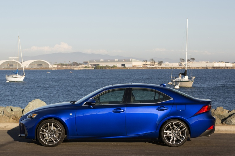 2018 Lexus IS 350 AWD in Ultrasonic Blue Mica from a side view
