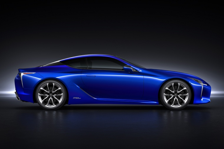 2018 Lexus LC 500h Coupe in Nightfall Mica from a side view