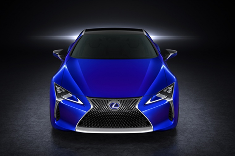 2018 Lexus LC 500h Coupe in Nightfall Mica from a frontal view