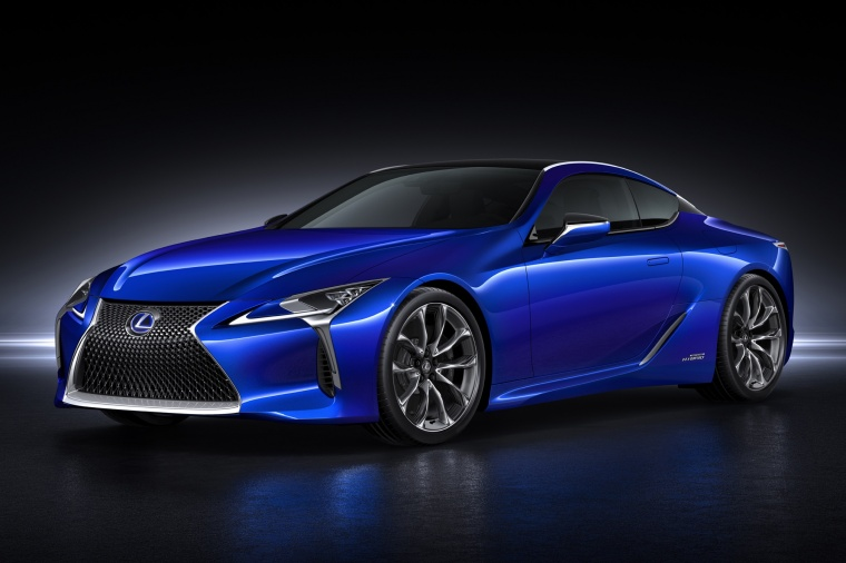 2018 Lexus LC 500h Coupe in Nightfall Mica from a front left view