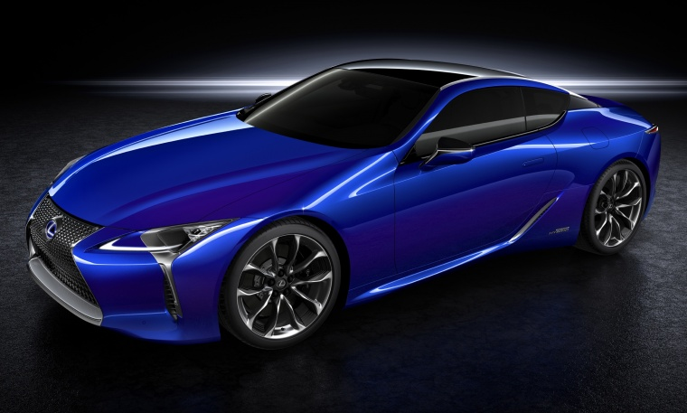 2018 Lexus LC 500h Coupe in Nightfall Mica from a front left three-quarter view