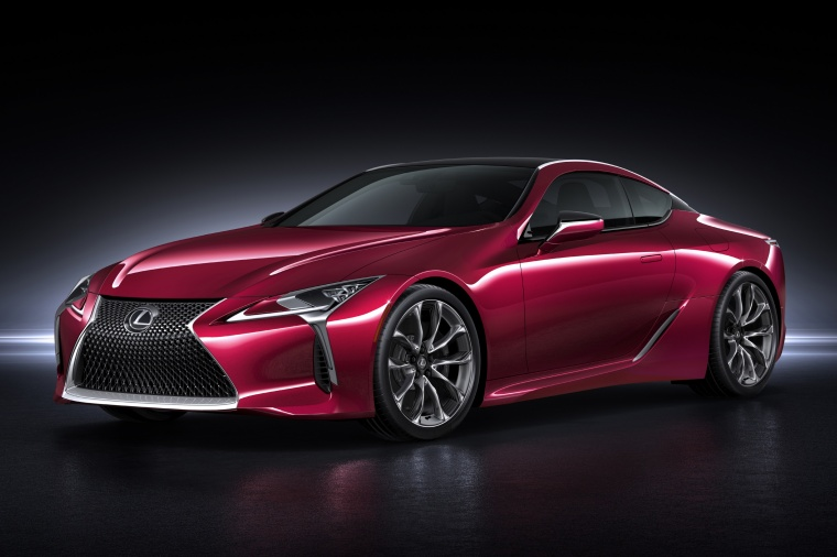 2018 Lexus LC 500 Coupe in Infrared from a front left three-quarter view