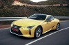 Driving 2018 Lexus LC 500 Coupe from a front left three-quarter view
