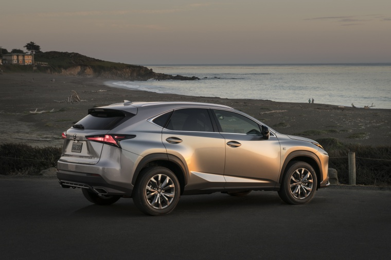 Picture of a 2019 Lexus NX300 in Atomic Silver from a rear right three-quarter perspective