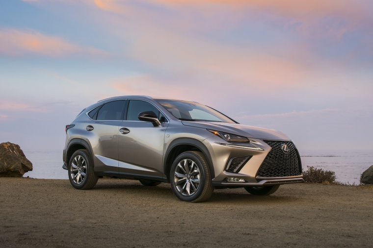 Picture of a 2019 Lexus NX300 in Atomic Silver from a front right three-quarter perspective
