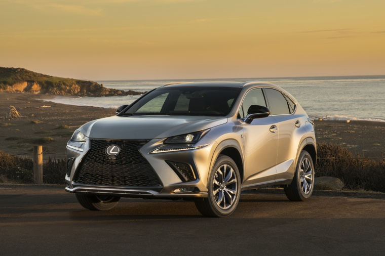 Picture of a 2019 Lexus NX300 in Atomic Silver from a front left perspective