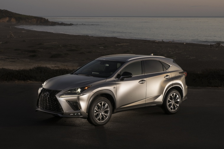 Picture of a 2019 Lexus NX300 in Atomic Silver from a front left three-quarter perspective