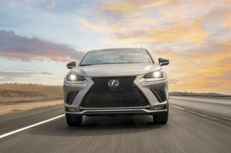 Picture of a driving 2019 Lexus NX300 in Atomic Silver from a frontal perspective