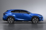 Picture of a 2019 Lexus NX300 F-Sport in Ultrasonic Blue Mica 2.0 from a side perspective