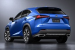 Picture of a 2019 Lexus NX300 F-Sport in Ultrasonic Blue Mica 2.0 from a rear left perspective