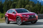 Picture of a 2019 Lexus NX300h in Matador Red Mica from a front right three-quarter perspective