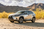 Picture of a 2019 Lexus NX300h in Atomic Silver from a front left three-quarter perspective
