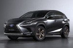Picture of a 2019 Lexus NX300h in Caviar from a front left three-quarter perspective