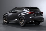 Picture of a 2019 Lexus NX300h in Caviar from a rear left three-quarter perspective