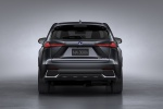 Picture of a 2019 Lexus NX300h in Caviar from a rear perspective