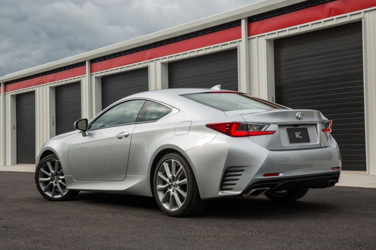 2016 Lexus RC350 F-Sport in Silver Lining Metallic from a rear left three-quarter view