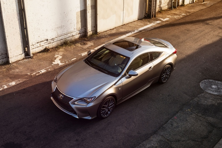 2018 Lexus RC350 F-Sport in Nebula Gray Pearl from a front left three-quarter top view