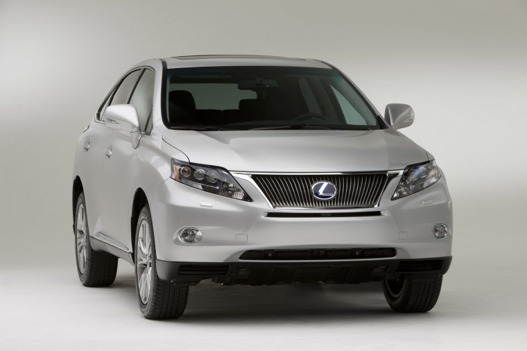 2011 Lexus RX450h in Tungsten Pearl from a front right view