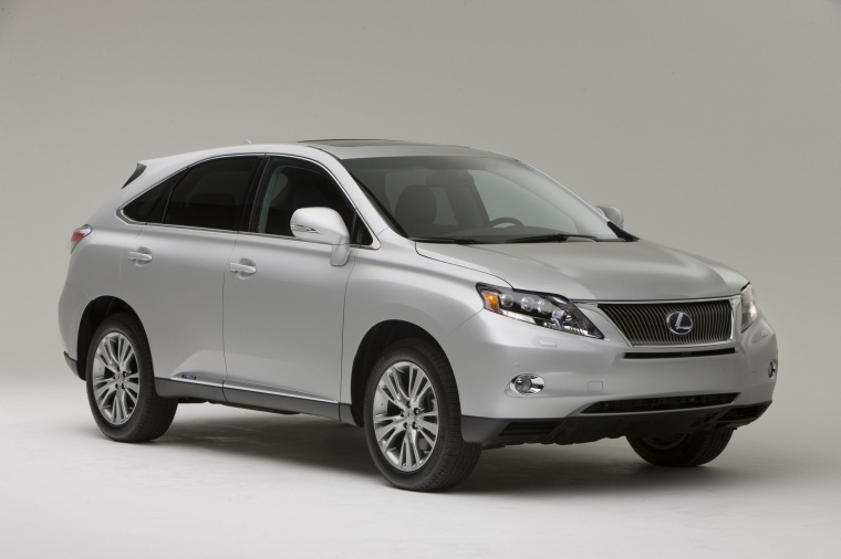 2012 Lexus RX450h in Tungsten Pearl from a front right three-quarter view