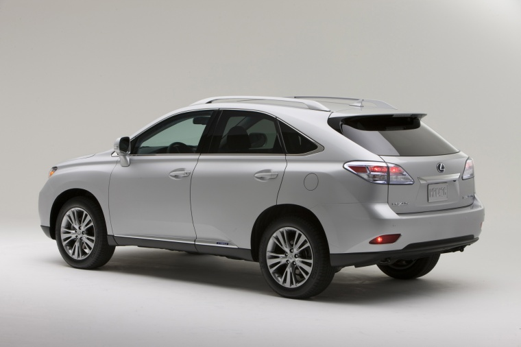2012 Lexus RX450h in Tungsten Pearl from a rear left three-quarter view