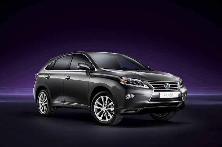 2013 Lexus RX450h in Nebula Gray Pearl from a front right three-quarter view