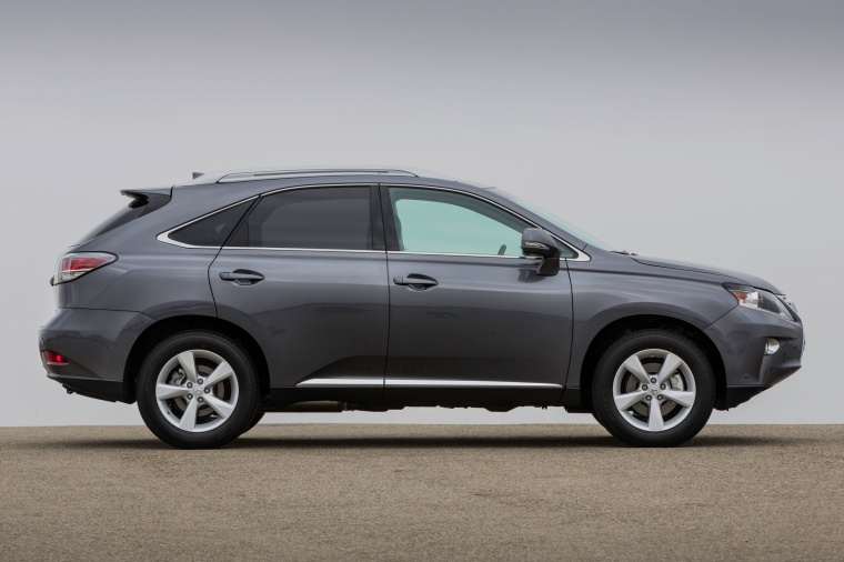 2013 Lexus RX350 in Nebula Gray Pearl from a side view