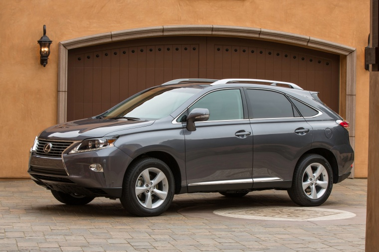 2014 Lexus RX350 in Nebula Gray Pearl from a front left three-quarter view