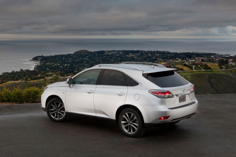 2014 Lexus RX350 F-Sport in Silver Lining Metallic from a rear left three-quarter view